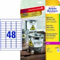 Avery zweckform Etykiety wodoodporne Heavy Duty, 45,7 x 21,2mm, białe,           do drukarki, 384 sztuki