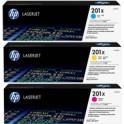 Zestaw trzech tonerów HP 201X | 3 x 2300 str | CMY